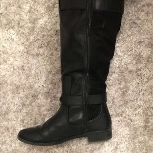 Cute fabric and leather boots