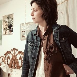 Vintage • silk fringe shirt
