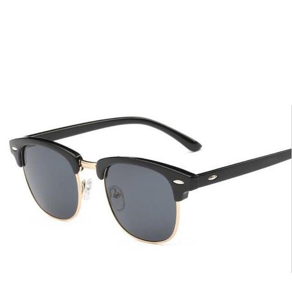 40366268c875 Gold Frame Men s Dark Black Hip Hop Sun Glasses