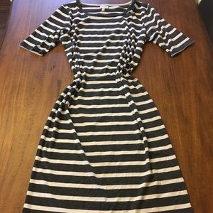 Charcoal grey and white striped Julia