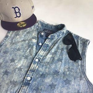 CUSTOM TopMan Denim Bleached Shirt