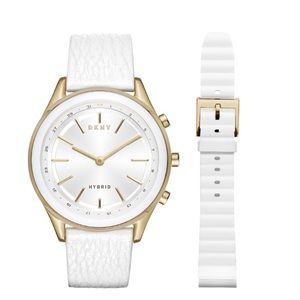 NEW NIB Dkny Woodhaven Gold White Smartwatch NWT