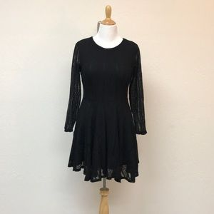 H&M Long Sleeve Black Lace Dress SZ: 14