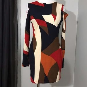 AX Paris Women's Cold Shoulder Printed Mini Dress