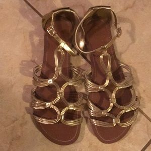 Super cute Banana Republic gold sandals SZ 10