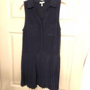 Joie Navy Blue Silk Pleated Button Down Dress
