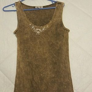 Vintage distressed beaded tank top