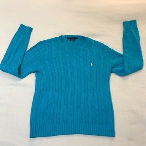 Ralph Lauren Cable Knit Teal Crewneck Sweater