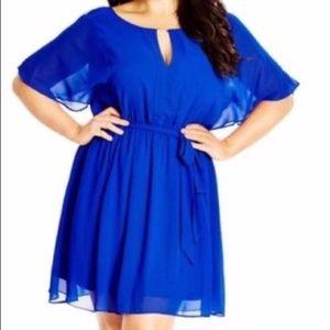 City Chic Batwing Sheer Blue Blouson Dress Sz L