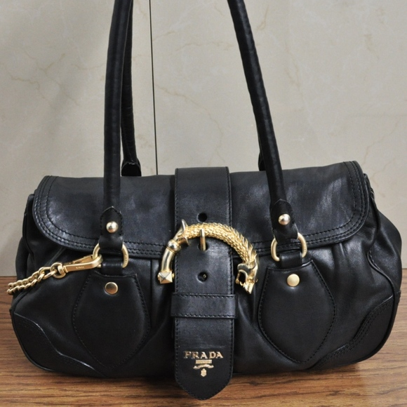 16dbc9242993 Prada Cervo Animalier Black Soft Leather Satchel. M 5a13889a4e8d1788710102ab
