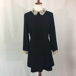 Black dress with lace trim
