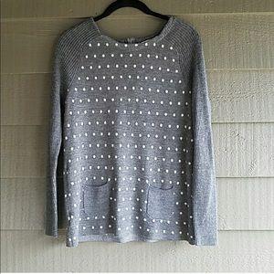 Loft Gray Poka Dot Sweater