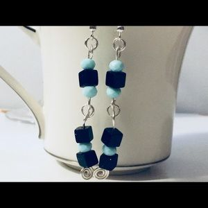 Jewelry - Silver wire earrings with blue and black beads