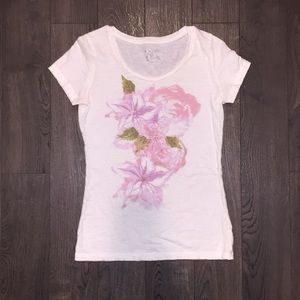 Floral White Tee