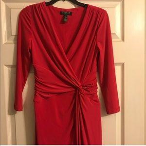 Ralph Lauren pink twist front jersey dress