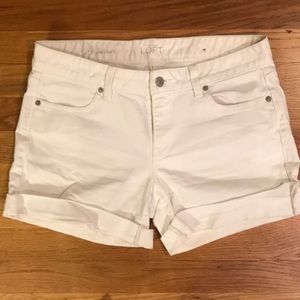 White Rolled Hem denim shorts