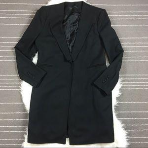 Zara longline Blazer Jacket black Wool Blend