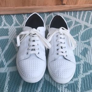 Rebecca Minkoff white sneaker tennis shoe beveled