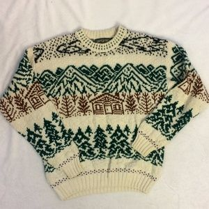 VNTG [AEO] House Mountains Pine Tree Sweater Med