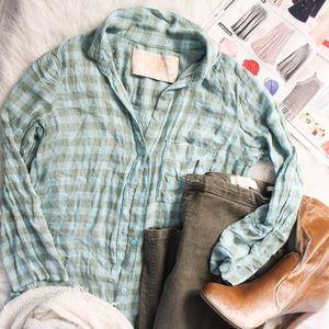 Bella Dahl Green Plaid Buttoned Flannel
