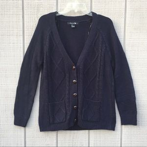 Forever 21 acrylic navy chunky cable knit cardigan