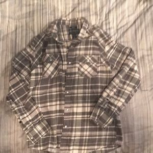 Men's med. American rag grey plaid pearl button up