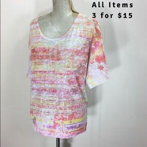 Maurices Rhinestone Floral Tie Dye Blouse