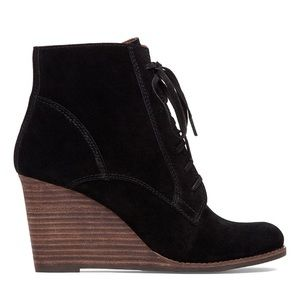 LUCKY BRAND Suede Lace-up Wedge Booties