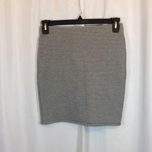 LOFT Black White striped pencil miniskirt Size S