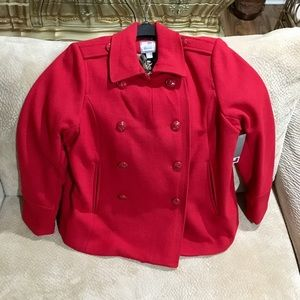 Jcp New Fully Lined Red Pea Coat XLT