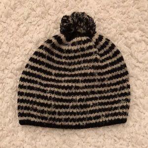 Striped Knit Beanie Pom Pom Knit Hat