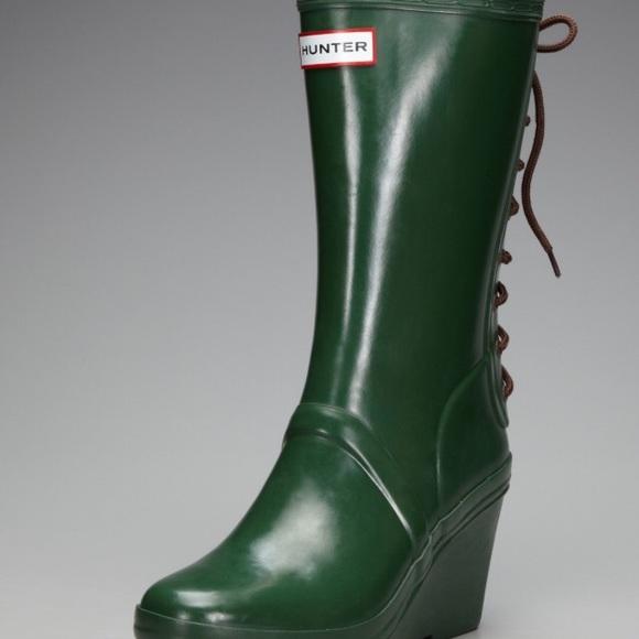 e946c52a9 Hunter Shoes | Verbier Rain Boot Green Wedge Laceup Sz 7 | Poshmark