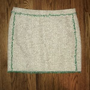 J.Crew NWOT Green and Silver Fringe Mini Skirt