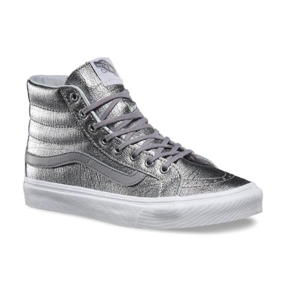 7d85a315aa VANs NWB SK8-Hi Slim Foil Metallic Silver Hi-Tops