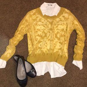 CAbi Ochre Burnout Sweater, M, EUC