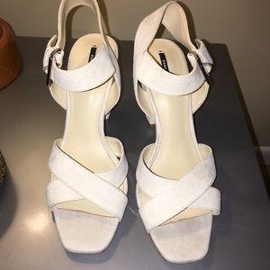 Cream suede Zara heels