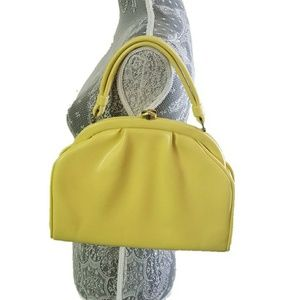 VINTAGE yellow butter leather handbag 60s