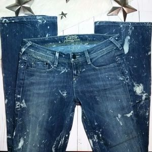Bebe denim jeans dark bleach splatter flare