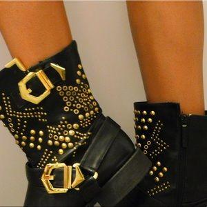 Gold Embellished Black Boots Size 9