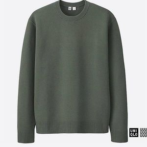 Oversized Ribbed Crewneck Sweater in Olive Green