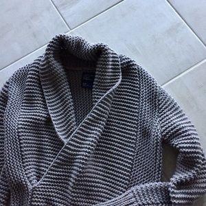 AE Grey Faux Wrap Sweater, M