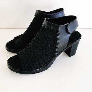 STEVEN open toed black comfort heels