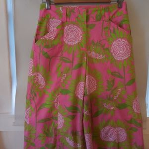 Lilly high waisted pink floral wide leg pants sz 4