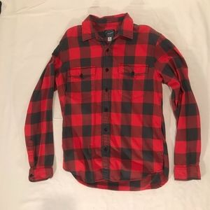 J Crew:  Red/Grey Checkered Button Down