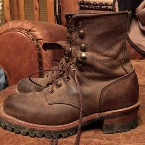 Womens frye boots logger style $300.00