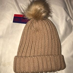 Fur hat with suede inside