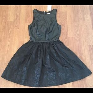 NWT Love Ady Black Faux Leather Tulle Party Dress