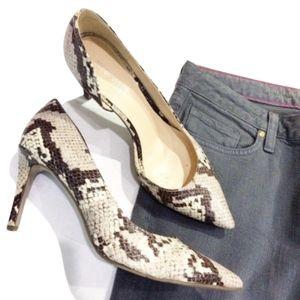 Nine West Stefao Snakeskin D'Orsay Heels