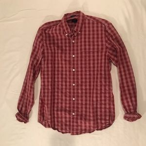 J Crew:  Red/Red Checkered Button Down Shirt
