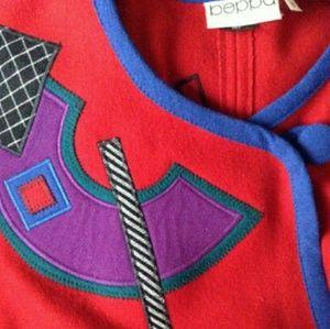 Vintage 80s Beppa wearable art wool coat